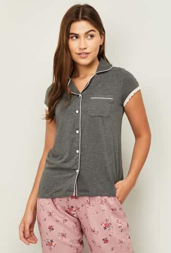 GINGER Women Textured Short Sleeves Lounge Shirt