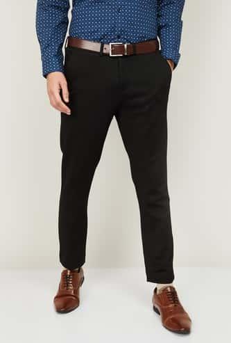 CODE Men Textured Super Slim Fit Formal Trousers