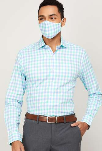 CODE Men Checked Slim Fit Formal Shirt with Mask