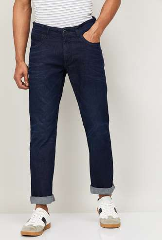 FORCA Men Solid Slim Straight Whiskered Jeans