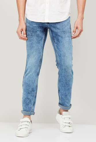 FORCA Men Stonewashed Slim Straight Jeans