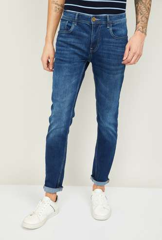 FORCA Men Stonewashed Slim Tapered Fit Jeans