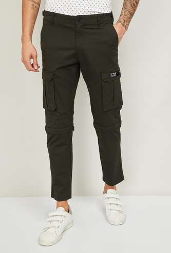 BOSSINI Men Solid Slim Tapered Fit Cargo Trousers/Shorts