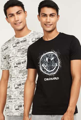 SMILEYWORLD Men Printed Regular Fit Crew Neck T-shirt- Pack of 2