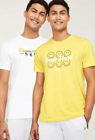 SMILEYWORLD Men Printed Regular Fit Crew Neck T-shirt - Set of 2 Pcs