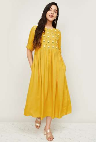 MELANGE Women Embroidered A-line Midi Dress with Pockets
