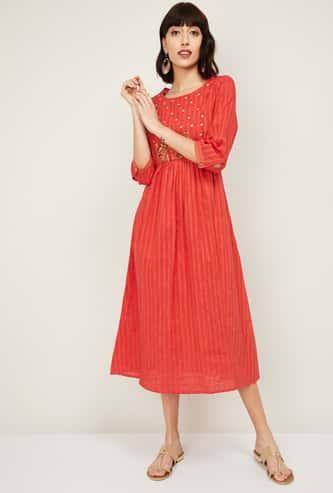 MELANGE Women Printed A-Line Dress