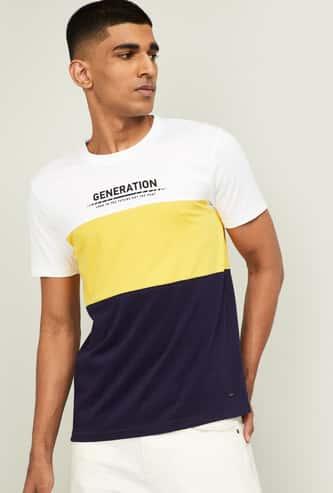 BOSSINI Men Colorblocked Regular Fit Crew Neck T-shirt