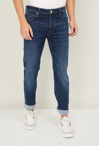 DENIMIZE Men Stonewashed Slim Straight Jeans