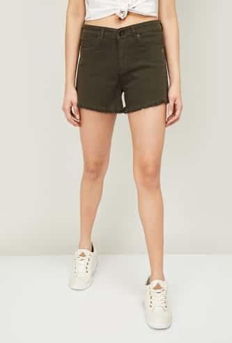 XPOSE Women Solid Regular Fit Denim Shorts