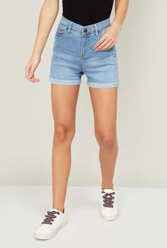 XPOSE Women Lightly Washed Denim Shorts with Upturned Hems