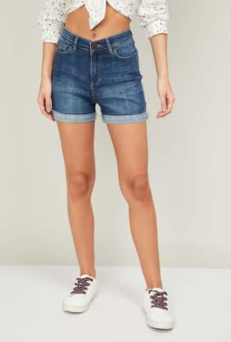 XPOSE Women Stonewashed Folded Hem Shorts