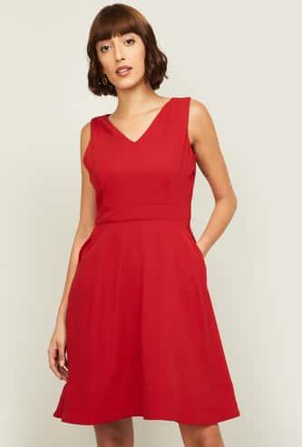 CODE Women Solid A-Line Dress