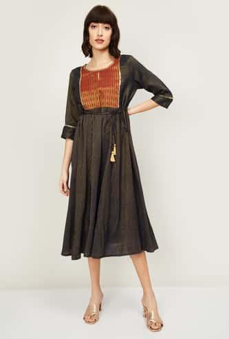 AURELIA Women Striped Three-Quarter Sleeves Midi Dress