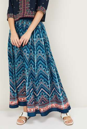 AURELIA Women Printed Elasticated A-line Skirt