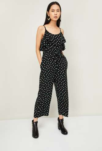 GINGER Women Printed Ruffle Layered Jumpsuit with Tei-Up Waist