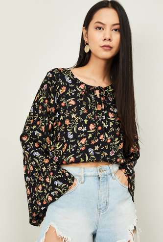 GINGER Women Floral Print Bell Sleeves Top