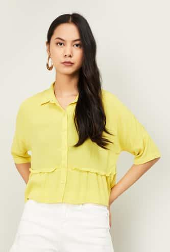 GINGER Women Textured Regular Fit Shirt with Short Sleeves
