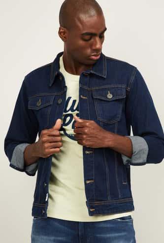 FORCA Men Solid Full Sleeve Denim Jacket