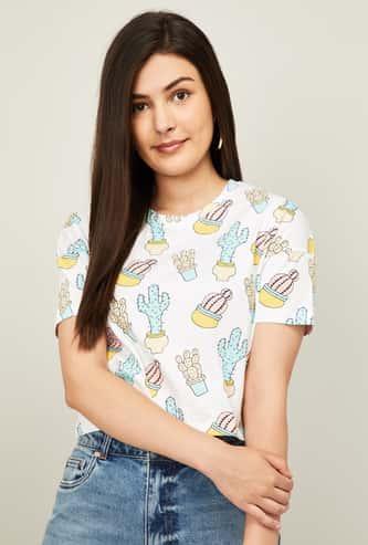 GINGER Women Cactus Printed Round Neck T-shirt