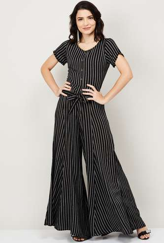 AURELIA Women Striped Round Neck Top with Flared Palazzo Pants