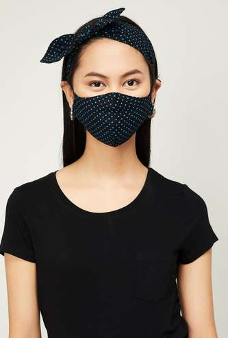 GINGER Women Printed Face Mask with Headband