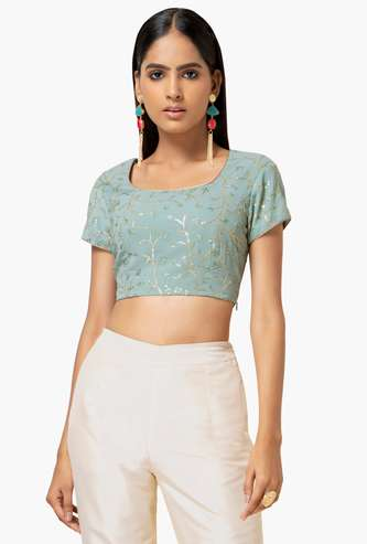 INDYA Women Embroidered Short Sleeves Crop Top