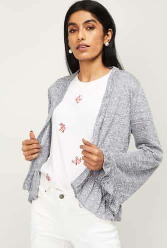 LATIN QUARTERS Women Textured Full Sleeves Shrug