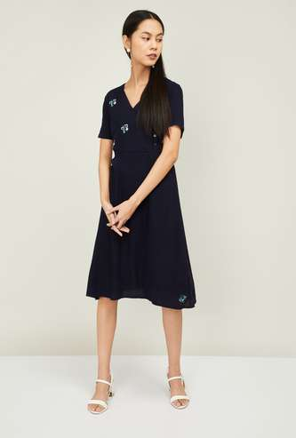 ALLEN SOLLY Women Embroidered A-line Dress