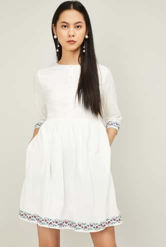 ALLEN SOLLY Women Solid Three-Quarter Sleeves A-line Dress