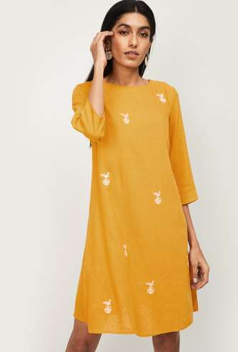 ALLEN SOLLY Women Embroidered Three-quarter Sleeves A-line Dress
