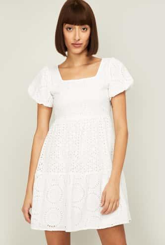 GINGER Women Schiffli Designed Short Dress