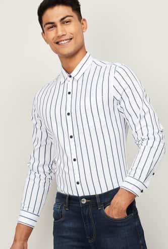 FAME FOREVER Men Striped Slim Fit Casual Shirt