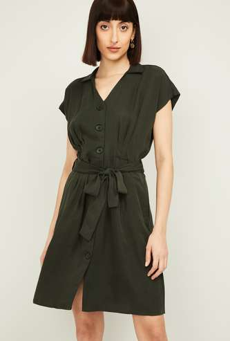 ALLEN SOLLY Women Solid Button-Down A-line Dress with Waist Tie-Up