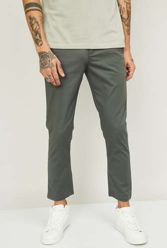 U.S. POLO ASSN. Men Solid Slim Tapered Casual Trousers