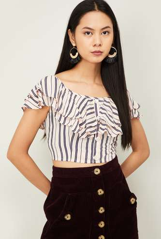 GINGER Women Striped Ruffle Layered Cropped Top