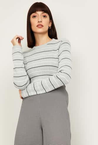 VAN HEUSEN Women Striped Round Neck Sweater