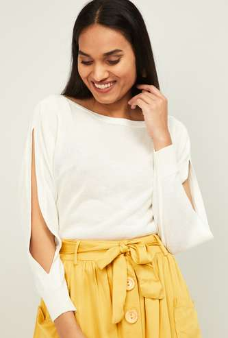 LEVI'S Women Textured Top with Cut-out Sleeve
