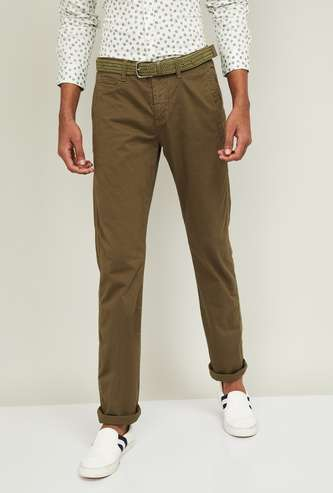CELIO Men Solid Slim Fit Casual Trousers