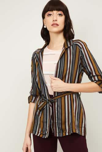 CODE Women Striped Open-Front Shrug