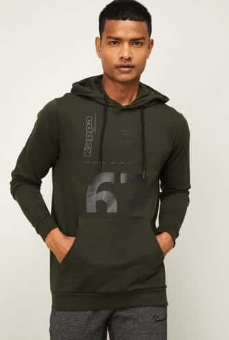 KAPPA Men Printed Full Sleeves Hooded Sweatshirt