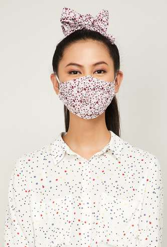 GINGER Women Printed Face Mask with a Scrunchie