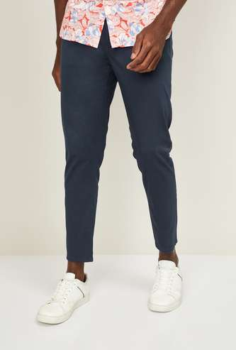 CODE Men Solid Slim Straight Fit Casual Trousers