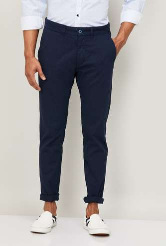 CODE Men Solid Slim Tapered Fit Flat-Front Trousers