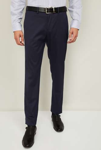 CODE Men Solid Slim-Tapered Fit Formal Trousers