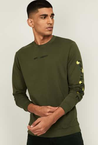SMILEYWORLD Men Printed Full Sleeves Sweatshirt