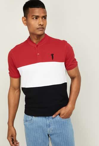 BOSSINI Men Colourblock Regular Fit Band Collar T-shirt