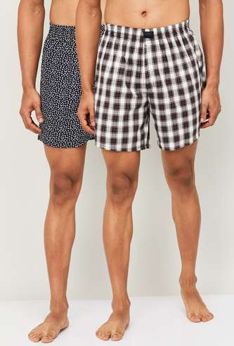 FAME FOREVER Men Checked Boxers- Pack of 2