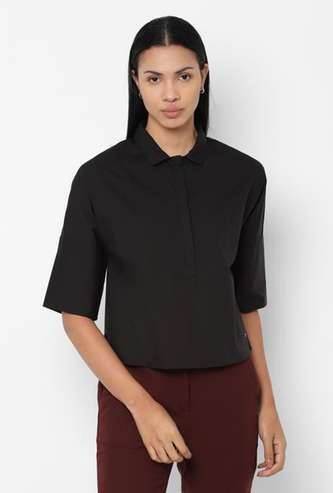 ALLEN SOLLY Women Solid Short Sleeves Shirt