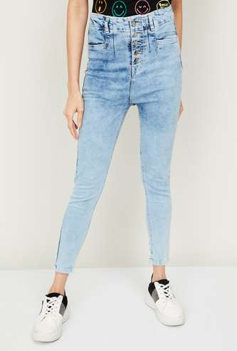 GINGER Women Stonewashed High-Rise Relaxed Fit Jeans